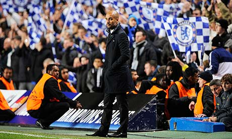 Pep Guardiola at Stamford Bridge during Chelsea's 1-0 win against Barcelona